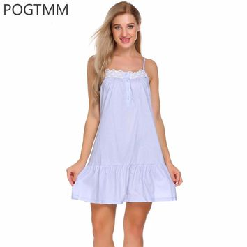 Summer Sexy Sleep Wear Clothes Nightwear Women 100% Cotton Nightgown Dress Plus Size Ruffles Floral Lace Night Gown Nightshirts