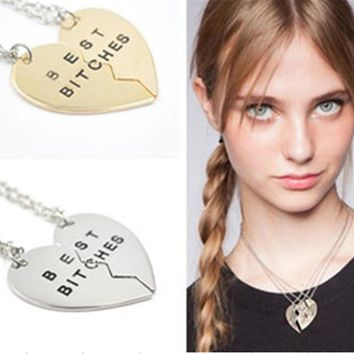 Fashion Chic Best Bitches Best Friend Forever 2Piece Gold/silver Break Heart Pendant Necklace for Women Jewelry