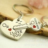 "Arrow ""I Love You"" Heart & Key Couple Keychain Keyring Keyfob = 1930331012"