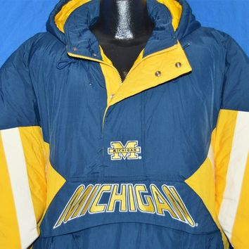 90s Michigan Wolverines Pull Over Deadstock Ski Jacket Large
