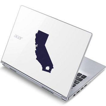 California State Fabric Decal - Home State Laptop Decal - Silhouette Phone Stickers - Personalized State Mac Decal - California Wall Art