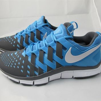 NEW MEN'S NIKE FREE TRAINER 5.0 579809-400 UNIVERSITY BLUE/ WHITE- DRK GREY