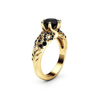 Black Diamond Ring Engagement Ring 14K Solid Gold Ring Diamonds Engagement Ring