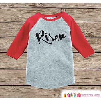 Kids Easter Outfit - Risen Shirt or Onepiece - Christ Religious Easter Shirts - Baby, Toddler, Youth - Boys Religious Easter Shirt - Red