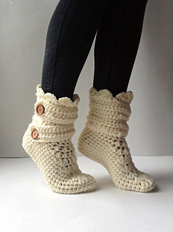 Womens Crochet Cream Slipper Boots, from StardustStyle on