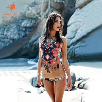 Qiang Yi 2017 Summer New Crop Top Sexy Padded High Neck Bandage Bikini Set Tassel Hollow Women Swimwears Beach Swim Suit Bathing