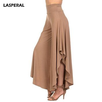 Elegant Irregular Ruffles Wide Leg Pants Women High Waist Pleated Pants Femme Casual Loose Street wear Trousers