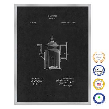 1869 Coffee Pot Antique Patent Artwork Silver Framed Canvas Home Office Decor Great for Coffee Lover Cafe Tea Shop