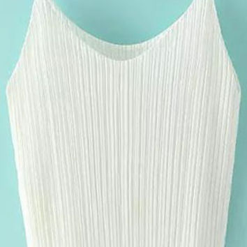 White Pleated Strappy Top