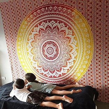 Red and Yellow Gradient Mandala Hanging Wall Tapestry