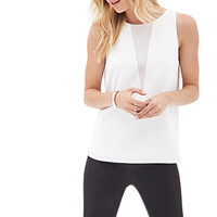 LOVE 21 Geo Colorblocked Sleeveless Top Ivory/Taupe