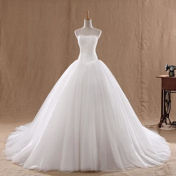 Lace Court Train Wedding Dress Lamya Vintage Strapless Tulle Bridal Ball Gown Lace Bottom Cheap Chinese Bride Dress
