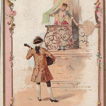 "Antique French advertising trade card from France. Chromo card . Antique French department  store "" Maison du Petit St Thomas ""  Paris."