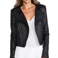 RACHEL ZOE Everett Cropped Jacket in Black