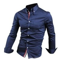 Jeansian Men's Slim Fit Long Sleeves Casual Shirts 8383