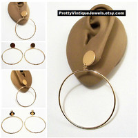 "Door Knocker 2"" 50mm Hoop Pierced Post Stud Earrings Gold Tone Vintage Monet Style Thin Round Extra Large Ring Flat Polished Disc"