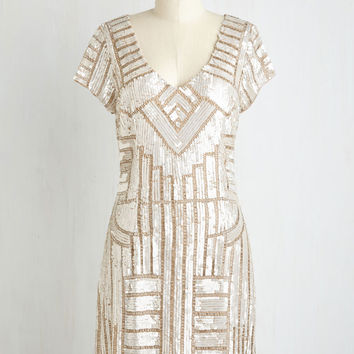 Glamorous Get-Together Dress in Champagne | Mod Retro Vintage Dresses | ModCloth.com