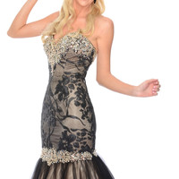 Precious Formals L70208 Gold or Black Lace Mermaid Prom Dress