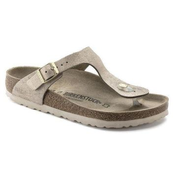 CREYNW6 Sale Birkenstock Gizeh Suede Leather Washed Metallic Rose Gold 1008793/1008794 Sandals