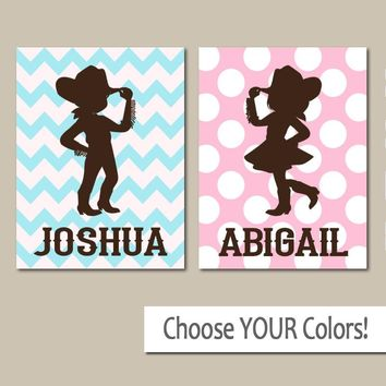 COWGIRL COWBOY Wall Art, Boy Girl Personalized Name Decor, Boy Bedroom Wall Decor, Girl Bedroom, Twin Boy Girl, Set of 2 Canvas or Prints