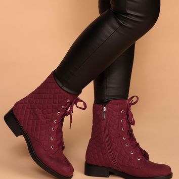 Callahan Burgundy Suede Quilted Combat Boots