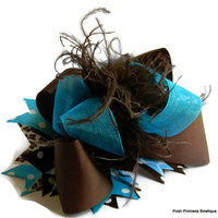 Brown, Over the top hair bow, Boutique hair bows