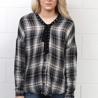 Lace Up Insert Plaid Blouse {Grey Mix}