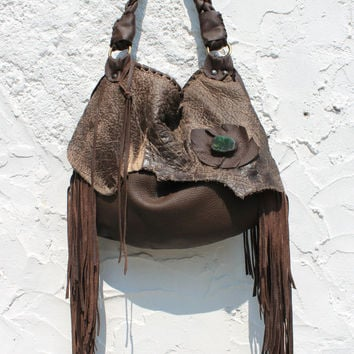 Small tribal leather raw edges brown distressed hobo gypsy larp elvish bohemian fringed bag fringe small tote brown rusted hobo tribal