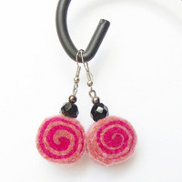 Earrings - felted rolls no 63, felt, merino wool earrings, very light, colorful earrings, unique pattern, sushi rolls