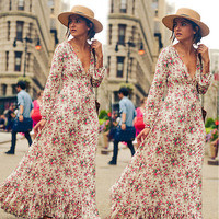 2017 Fashion woman casual Sexy Clothing Floral v-neck Dress Womens Maxi Boho Floral Summer Beach Long Party lady woman Dress