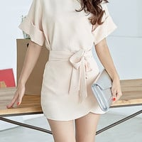 Nude Short Sleeve Dress with Sash