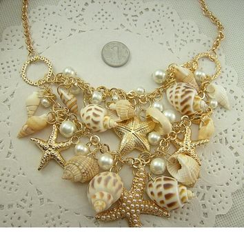 Conch Shell Starfish Simulated pearl Necklace Sweet Fashion Fashion Sea Star Plated Multitiered Necklaces & Pendants For Women