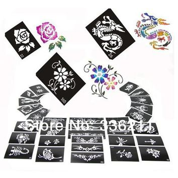 60pcs mixed 193styles Glitter Tattoo stencil Body Painting design airbrush Temporary Tatoo Kit template supplies Free shipping