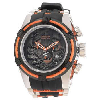 Invicta 14193 Men's Bolt Zeus Reserve Orange Wire Bezel Grey Koi Fish Dial Steel & Rubber Strap Dive Watch