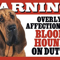 "Warning! Overly Affectionate Bloodhound On Duty! Dog Wall Sign with Bonus ""I Love My Dog"" Decal"