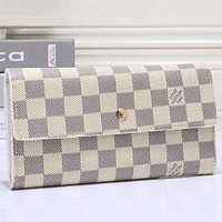 LV Louis Vuitton Trending Ladies Shopping Leather Buckle Wallet Purse White I