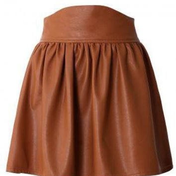 brown faux leather high waisted skater from ustrendy bottoms