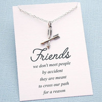 Silver Friendship Necklace   Best Friend Necklace   Crossed Arrow Necklace   BFF Gift   Friendship Gift   Sterling Silver   F01