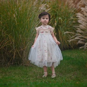Magnolia Morning Meadow Floral Ivory Tulle Ruffle & Tulle Smock Dress