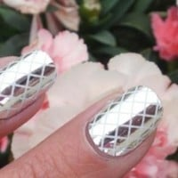 Silver Criss Cross Nail Foil Wraps polish strips stickers for Fingers and Toes by Miss Silver