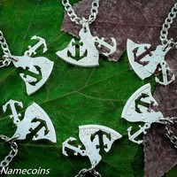 Anchors 6 Silver Necklaces, Best Friends or Family, Real Silver Dollar, By Namecoins