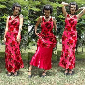 Vintage designer burnt out velvet silk bias cut maxi dress on the cross red rose floral sexy formal grunge goth burlesque seductive