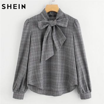 Bow Tie Neck -Long Sleeve -Regular Fit Plaid Blouse