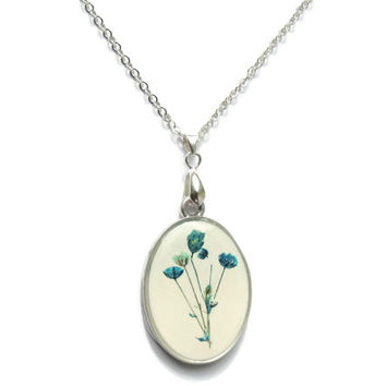 Baby's Breath pendant, real flowers jewelry, Blue floral necklace, Botanical jewelry, Gypsophila jewelry in resin