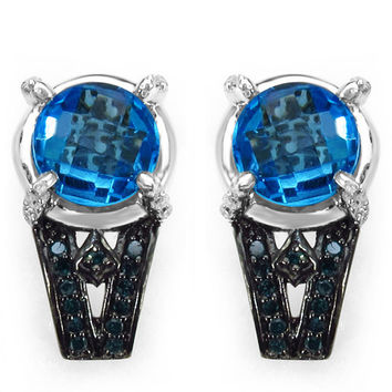 6.55 Carat Genuine Swiss Blue Topaz, Blue Diamond & White Diamond .925 Sterling Silver Earrings