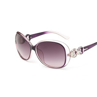 Vintage Sunglasses For Women Round Metal Frame Purple