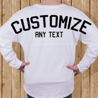 Monogrammed Spirit Jersey Choice of GLITTER or SOLID Text, Custom Spirit Jersey, Pom Pom Pullover, Sorority Jersey, Spirit Jersey