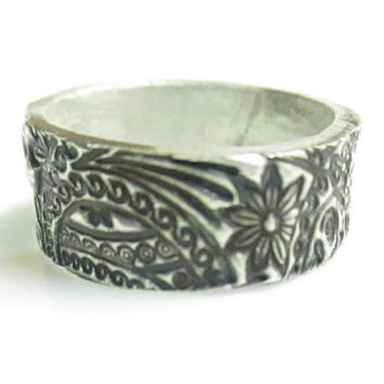 Paisley Ring, Sterling Silver Band, Sterling Silver Ring, Size 5.5, Floral Ring, Sterling Silver Jewelry, Silver Ring, Rings, Ring Band