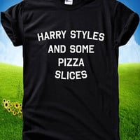 Harry Styles And Some Pizza Slices Tumblr One Direction 1D  Gildan Short Sleeve T-shirts
