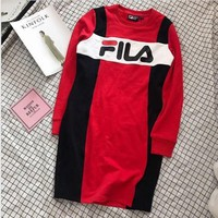 DCCKN6V FILA Fashion Trending Casual Splicing Print Long Sleeve Mini Dress G